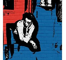 Thinking Graffiti (Red+Blue) Photographic Print