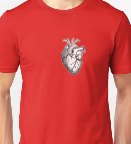 Heart, Anatomical, Drawing, Etching, Unisex T-Shirt
