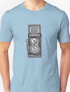 Bold, Black and White Camera Line Drawing T-Shirt