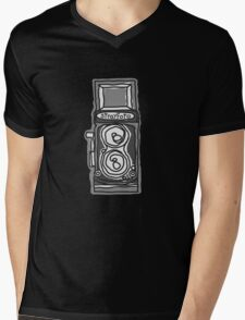 Bold, Black and White Camera Line Drawing Mens V-Neck T-Shirt