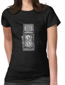 Bold, Black and White Camera Line Drawing Womens Fitted T-Shirt