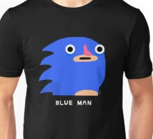 Blue man (white text) Unisex T-Shirt