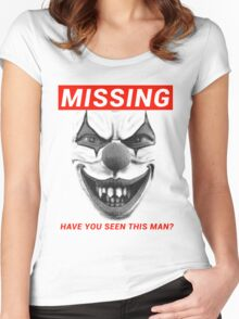 Creepy Clown Sightings Missing Poster - (Halloween & Coulrophobia) Women's Fitted Scoop T-Shirt