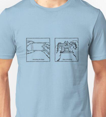 Likes Shooting (black ink for light background) Unisex T-Shirt