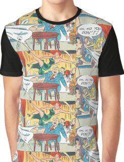 Ladies fighting in a restaurant vintage comic art Graphic T-Shirt