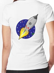 Rocket, Cartoon, Kids, Space, Sci fi, Fun, Funny Women's Fitted V-Neck T-Shirt