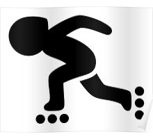 Inline Speed Skating Icon Poster