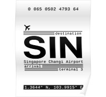 SIN Singapore Changi Airport Call Letters Poster