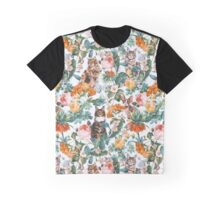 Cat and Floral Pattern III Graphic T-Shirt