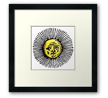 OLD SUN, STAR, engraving, etching, historic, history Framed Print