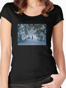 WINTER WONDERLAND GROTTO IN DEVON GARDEN AFTER SNOW Women's Fitted Scoop T-Shirt
