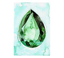 Emerald Stone in Watercolor Photographic Print