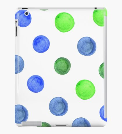 watercolor background with blue and green circles. iPad Case/Skin