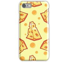 Pattern with a slice of cheese on a light yellow background iPhone Case/Skin