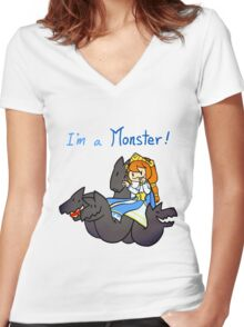 Smite - I'm a monster (Chibi) Women's Fitted V-Neck T-Shirt