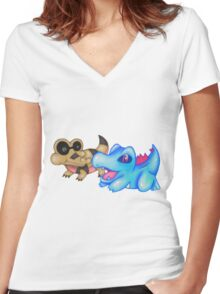 Best Buds (Sandile and Totodile) Women's Fitted V-Neck T-Shirt