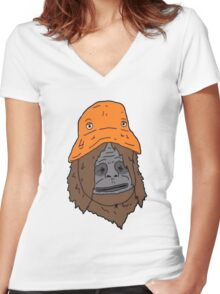 Sassy and the Orange Hat Women's Fitted V-Neck T-Shirt