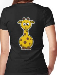 Giraffe, Cartoon, Africa, Wildlife, Trees, Fun, Funny Womens Fitted T-Shirt