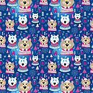 Christmas pattern with portraits of bears by Tanor