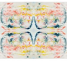Vibrant ink feather pattern marbled design Photographic Print
