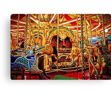 Commander Baldocks Galloping Horses and Racing Cockerels Carousel  Canvas Print