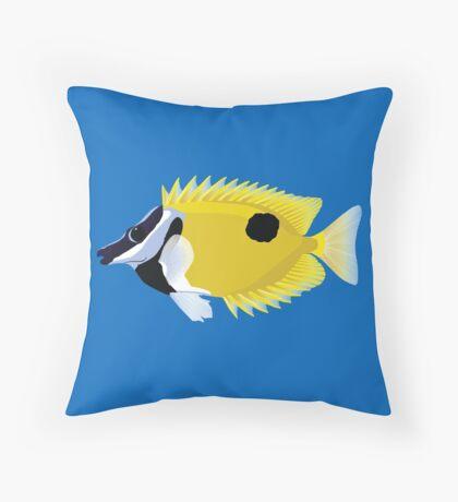 Foxface fish illustration Throw Pillow