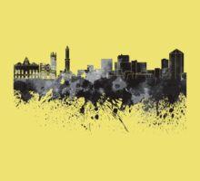Genoa skyline in black watercolor Kids Tee