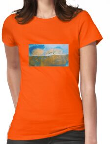 Eye catching vibrant Golden Blue Abstract ink design top bottom split Womens Fitted T-Shirt
