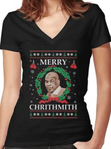 Merry Chrithmith Funny Christmas Women's Fitted V-Neck T-Shirt