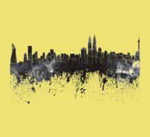 Kuala Lumpur skyline in black watercolor One Piece - Short Sleeve