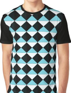 Black blue and white triangle pattern Graphic T-Shirt
