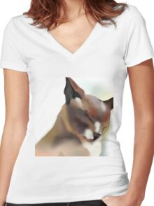Content cat Women's Fitted V-Neck T-Shirt