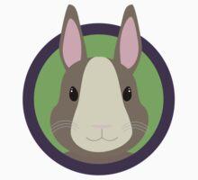 Cute Rabbit head with purple cirlcle One Piece - Short Sleeve
