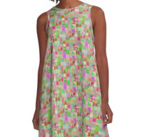 Random Zazzle Grid in Pinks and Greens A-Line Dress