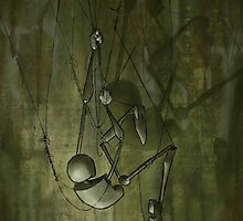 Puppet Climbing, Creepy Puppet Painting by SuspendedDreams