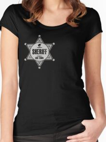 Halloween - Boo Town Sheriffs Badge  Costume Women's Fitted Scoop T-Shirt