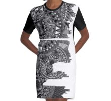 Zentangle City Moscow [Black and White] Graphic T-Shirt Dress