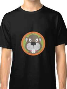 Cute Beaver head with orange circle Classic T-Shirt