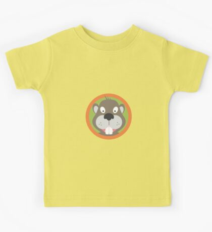 Cute Beaver head with orange circle Kids Tee