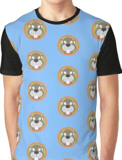 Cute Beaver head with orange circle Graphic T-Shirt
