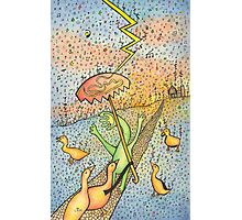 Ducks with a Handface Person in Music Rain & Symbols Photographic Print