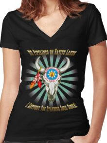 Buffalo Steal Ya Face Standing Rock Sioux Women's Fitted V-Neck T-Shirt