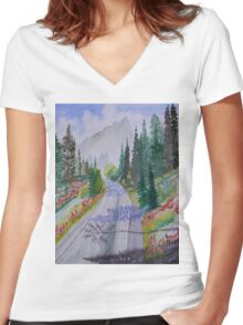 Biking The Mountains 2 Women's Fitted V-Neck T-Shirt