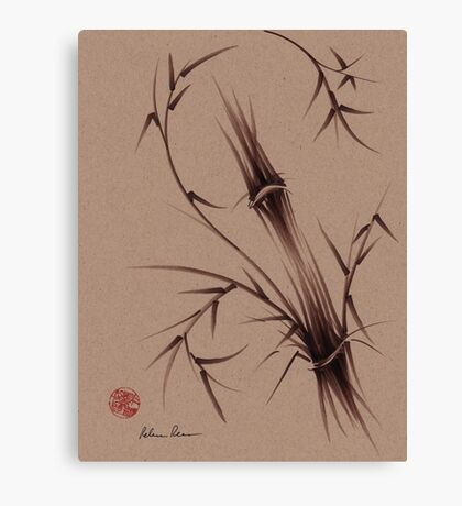 """As One""  Original brush pen sumi-e bamboo drawing/painting Canvas Print"