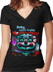 SISTER LOCATION (FNAF) Baby wants to play Women's Fitted V-Neck T-Shirt