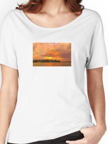 Striking Orange Sunrise Over Water. Original exclusive photo art. Women's Relaxed Fit T-Shirt