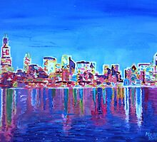 Neon Shimmering Skyline of Chicago at Night by artshop77