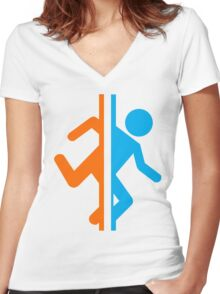 Portal 2 Shirt Women's Fitted V-Neck T-Shirt