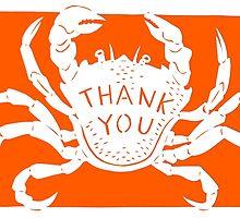 Orange Crab Thank You by Hazel Partridge