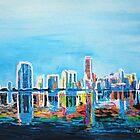 Neon Shimmering Skyline Miami, Florida by artshop77